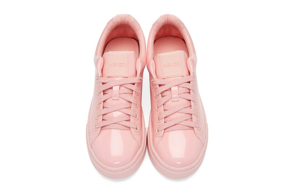 Kenzo Pink Patent K-Lace Platform Sneaker SSENSE