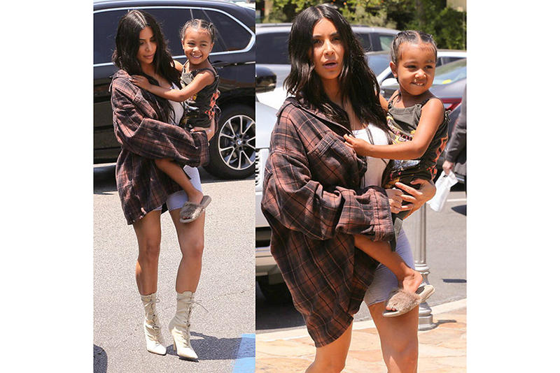 Kim Kardashian Kanye West Kids Supply AKID Brand Fur Slides Brown Children