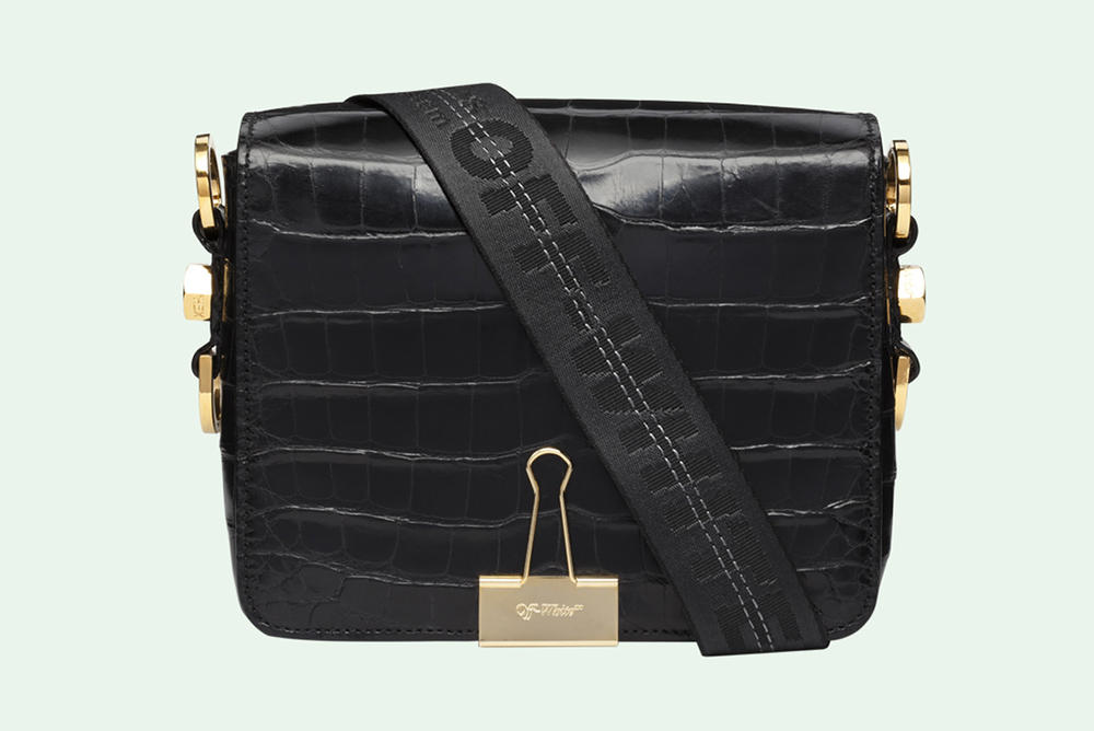 f5e996a3d8b5 Off White Virgil Abloh Binder Clip Bag Crocodile Leather Black
