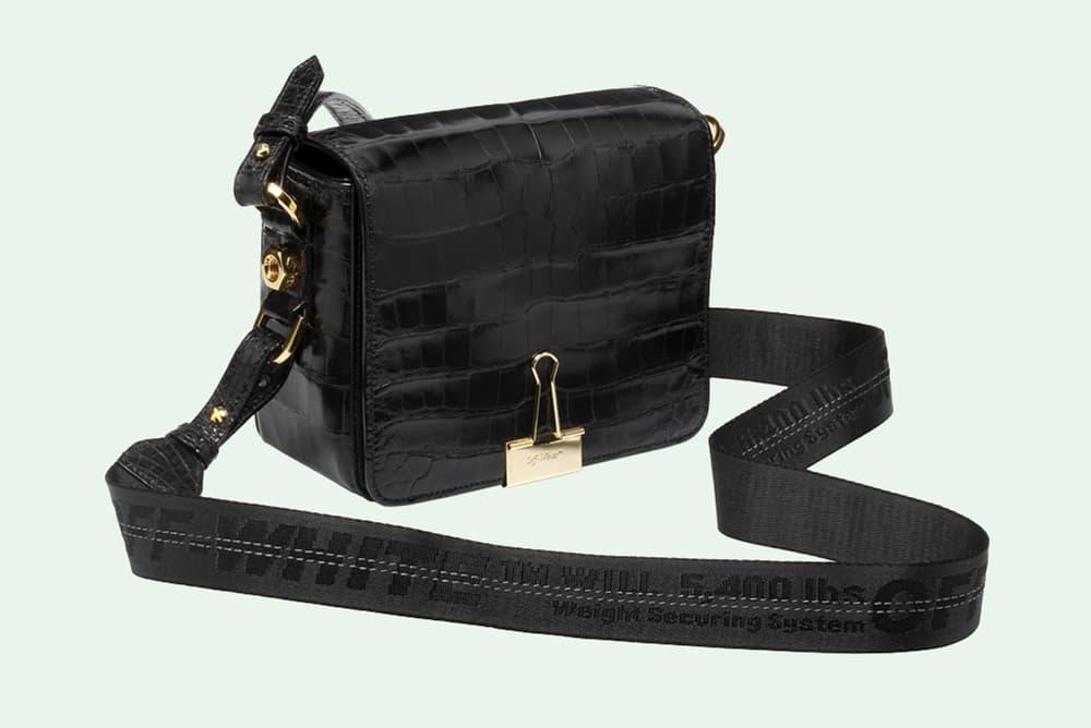 Off White Virgil Abloh Binder Clip Bag Crocodile Leather Black