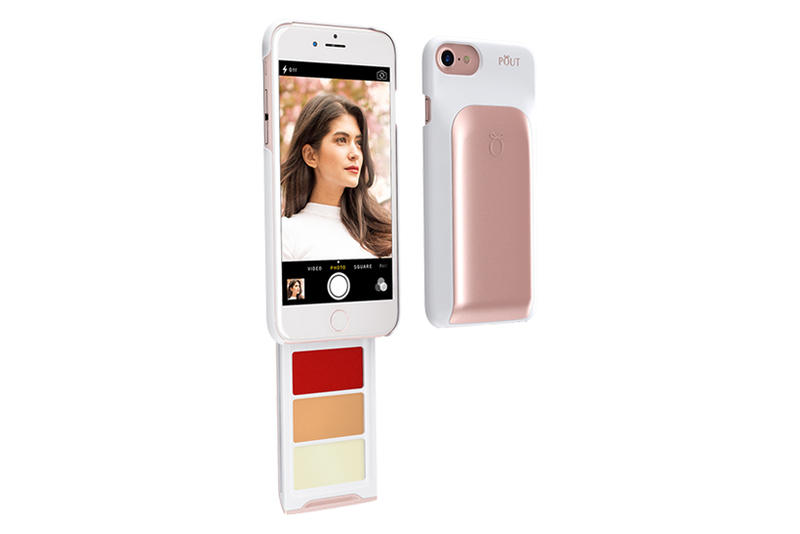 POUT Makeup iPhone Case Pink Gold Lipstick Foundation Lip Balm