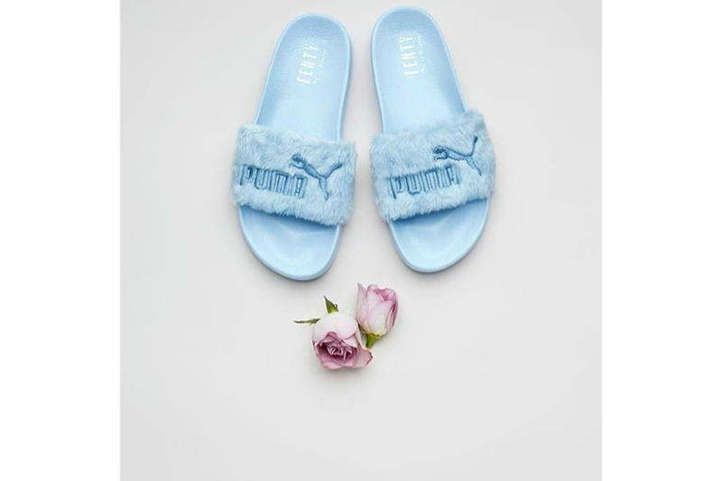 Rihanna Fenty PUMA Fur Slides Pastel Purple Blue