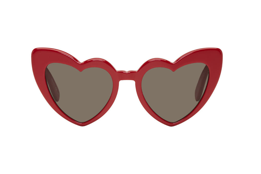 saint laurent heart shaped sunglasses red black acetate lou lou ssense