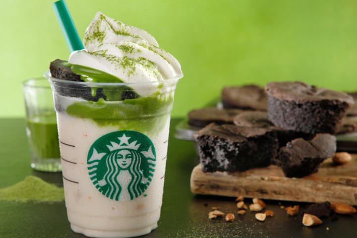 Starbucks Japan Almond Matcha Frappuccino Chocolate Cake