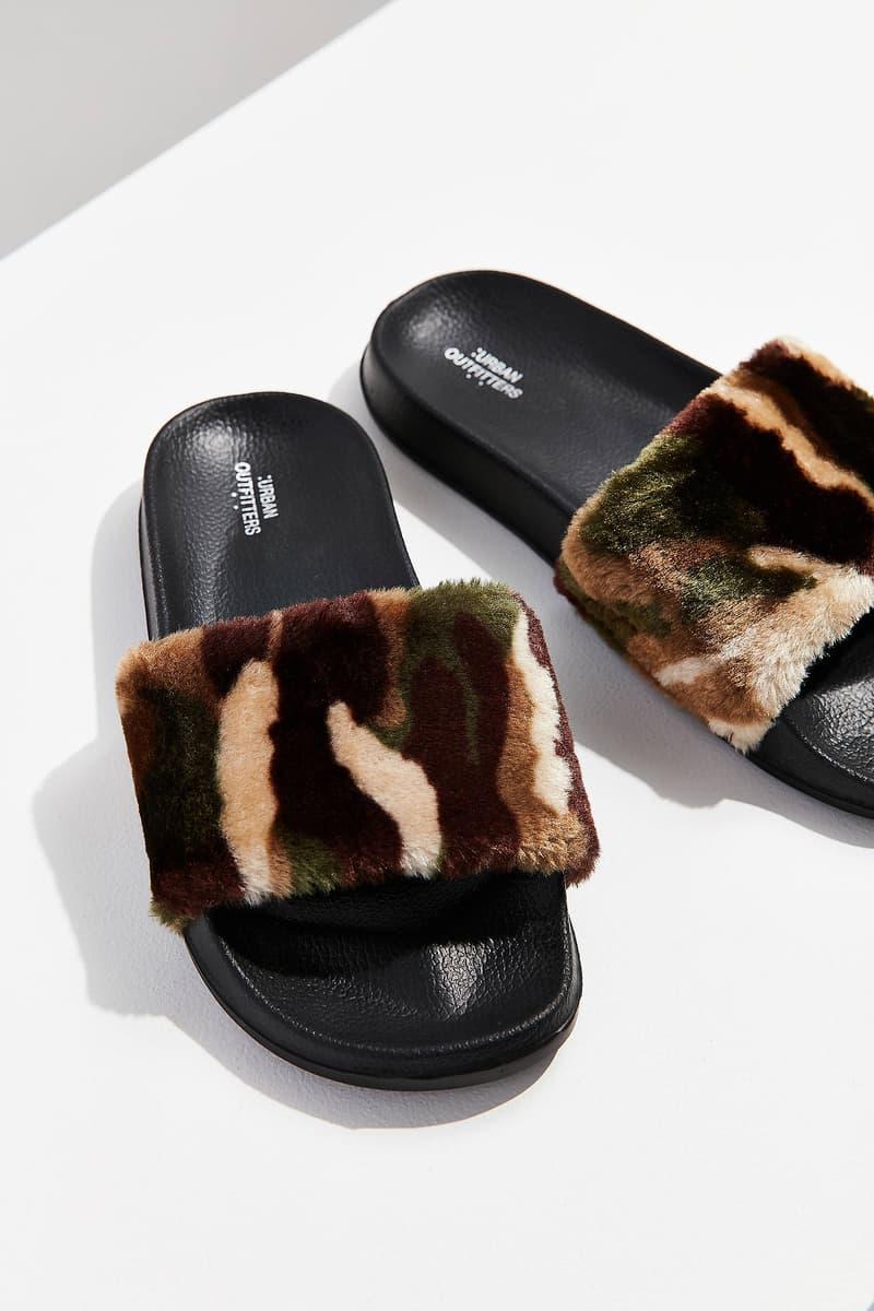 Urban Outfitters Faux Fur Camo Cheetah Slides