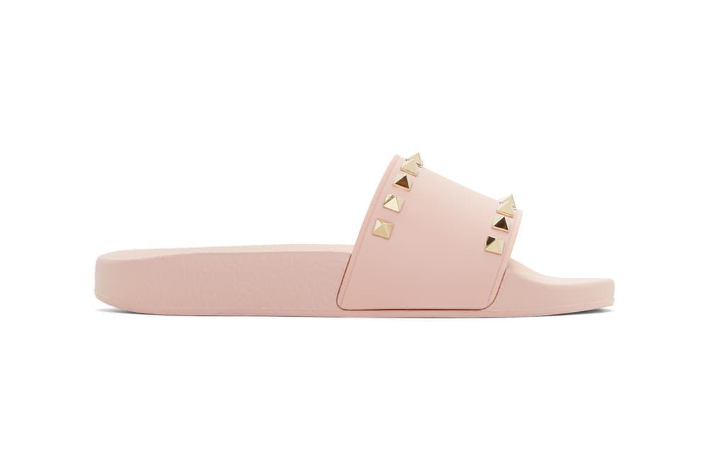 Valentino Rockstud Pool Slides Pink Black