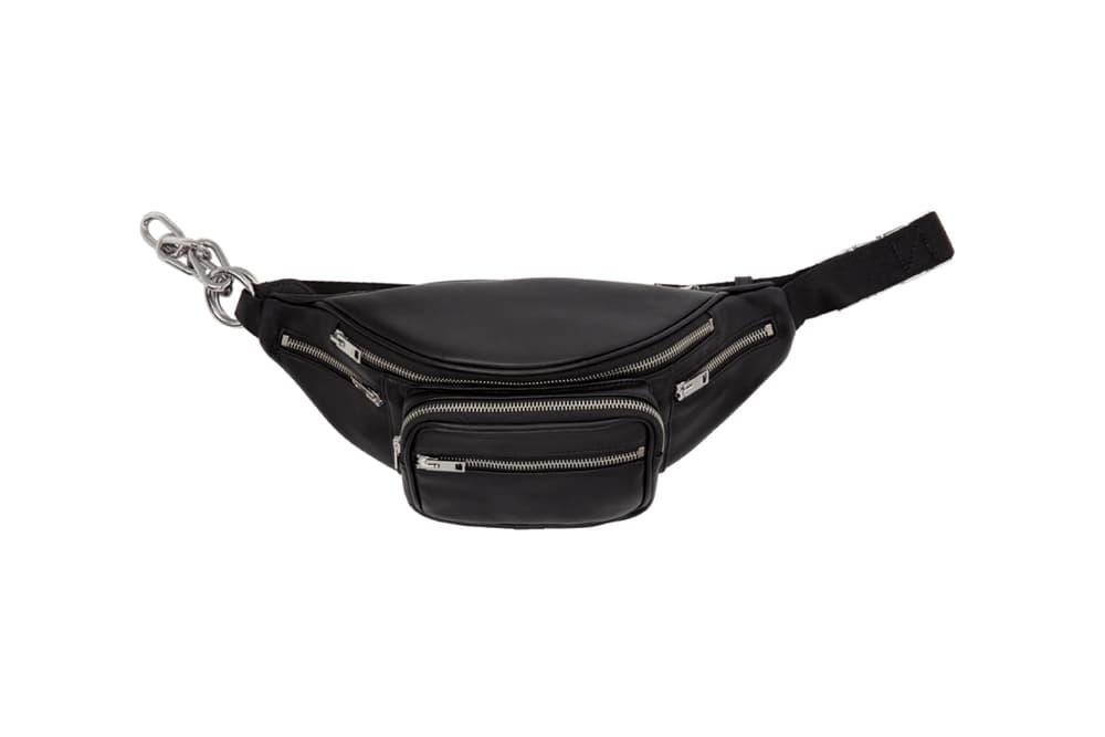 Alexander Wang black leather fanny pack handbag silver ssense