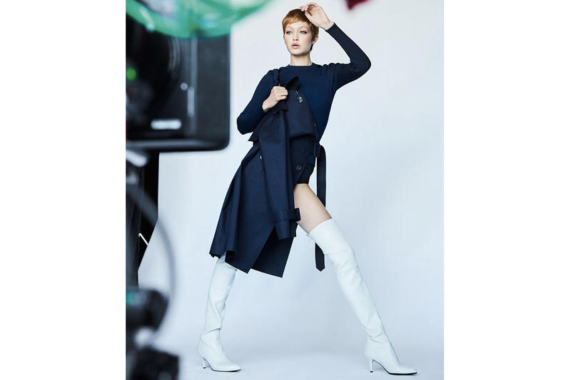 Gigi Hadid brown caramel hair pixie cut cropped stuart weitzman campaign fall winter 2017
