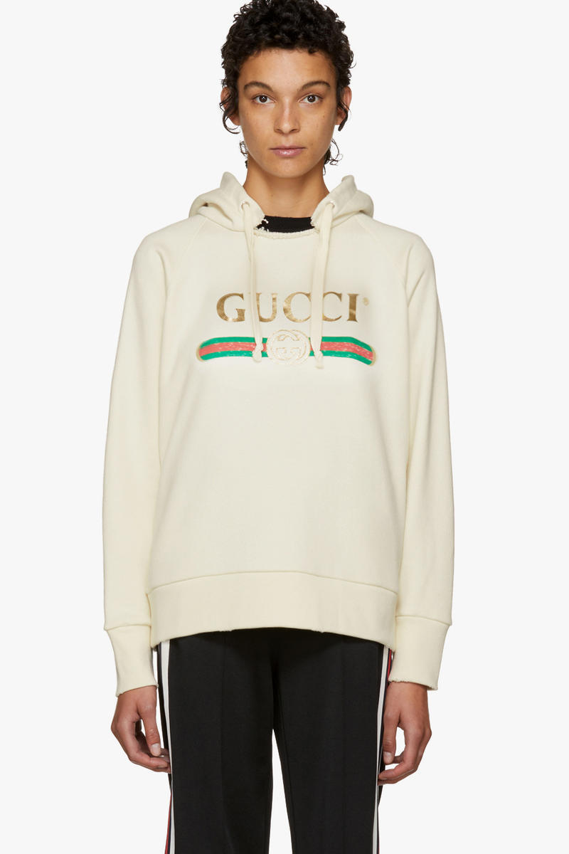 Gucci Oversized Vintage Blind For Love Hoodie Off White Cream SSENSE Streetwear Luxury Alessandro Michele