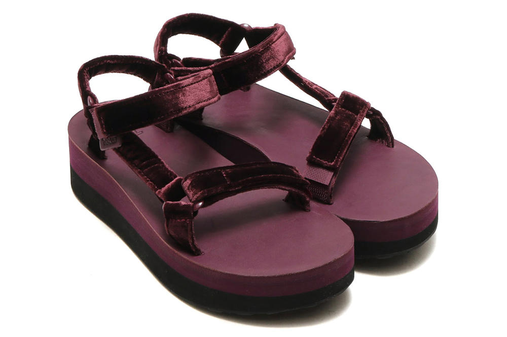 2a5bbdf3364 Teva Flatform Universal Velvet Sandals atmos Deep Purple Blue Amber Yellow  Burgundy Summer