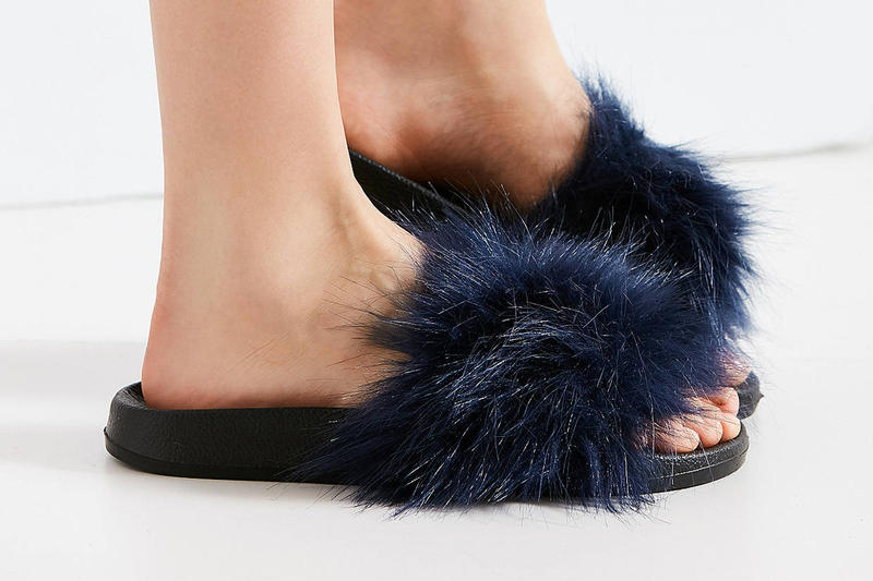 Urban outfitters super furry fluffy pool slides black navy