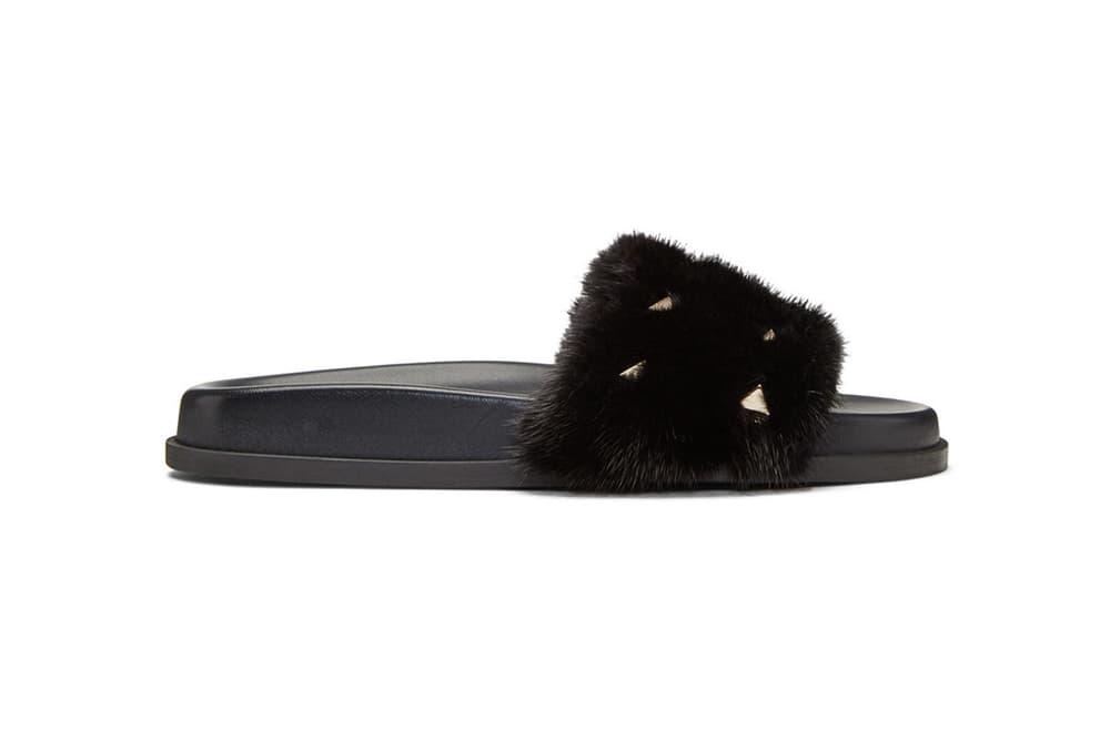 Valentino Black Fur Rockstud Slides SSENSE Pool