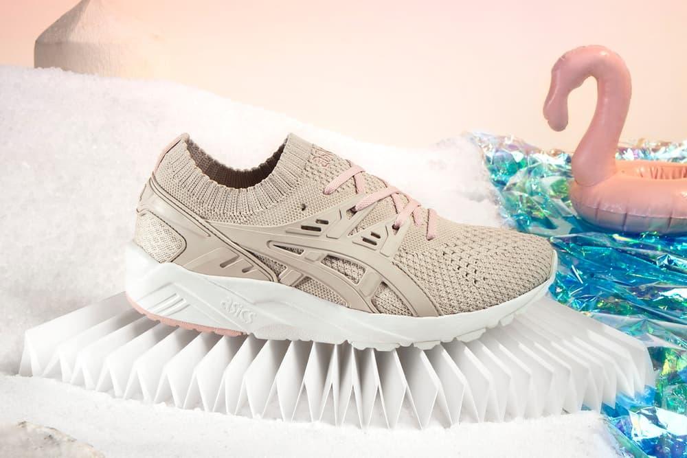 ASICS GEL-Kayano knit dusty blue vanilla pink mint sneaker