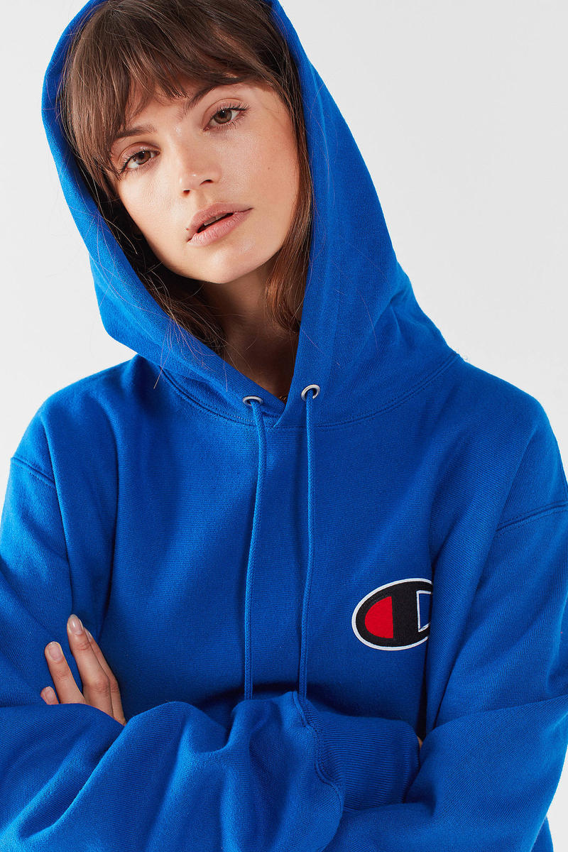 Champion Reverse Weave Hoodie Oversize Blue Urban Outfitters