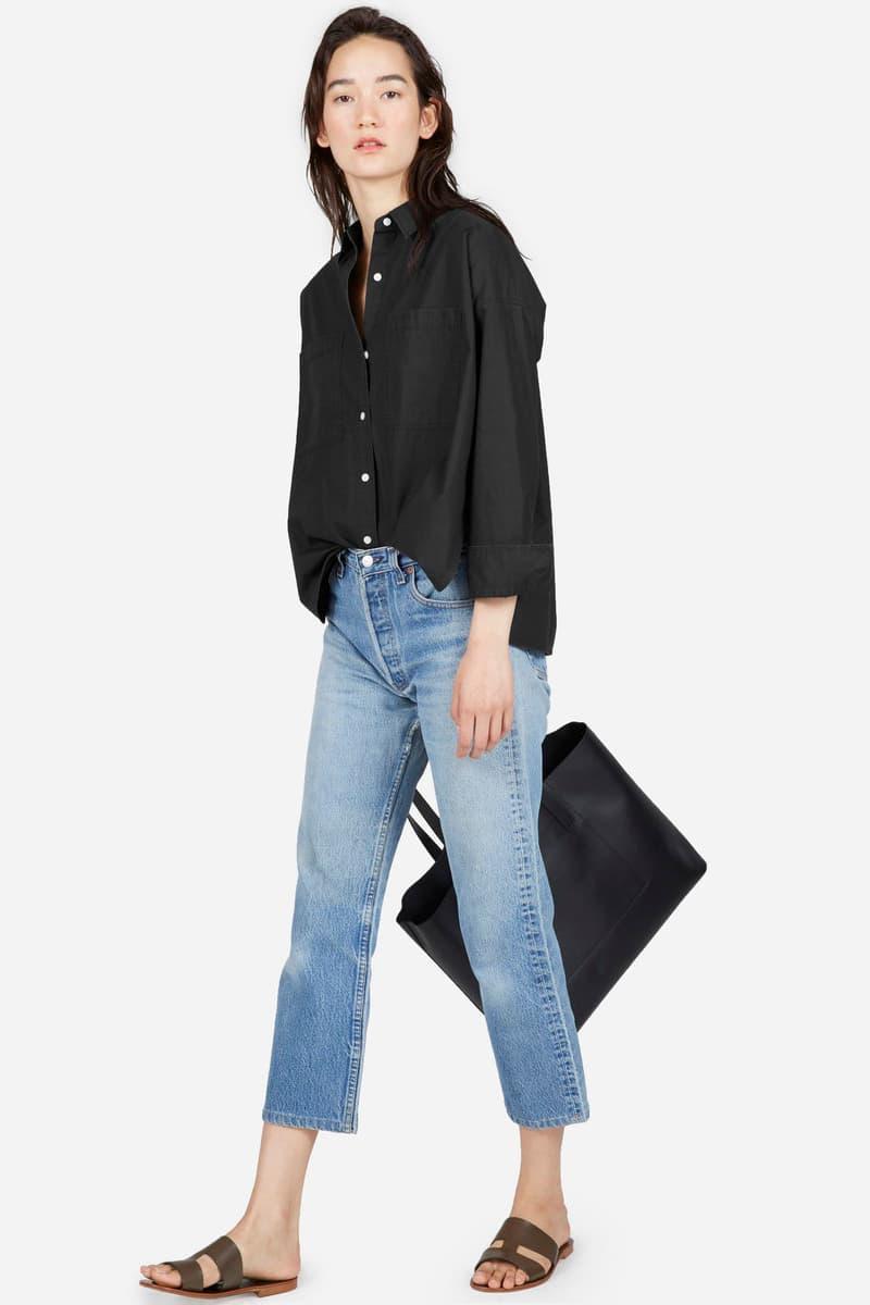 Everlane Cotton Pocket Shirt Shirt Dress Black Green Ochre