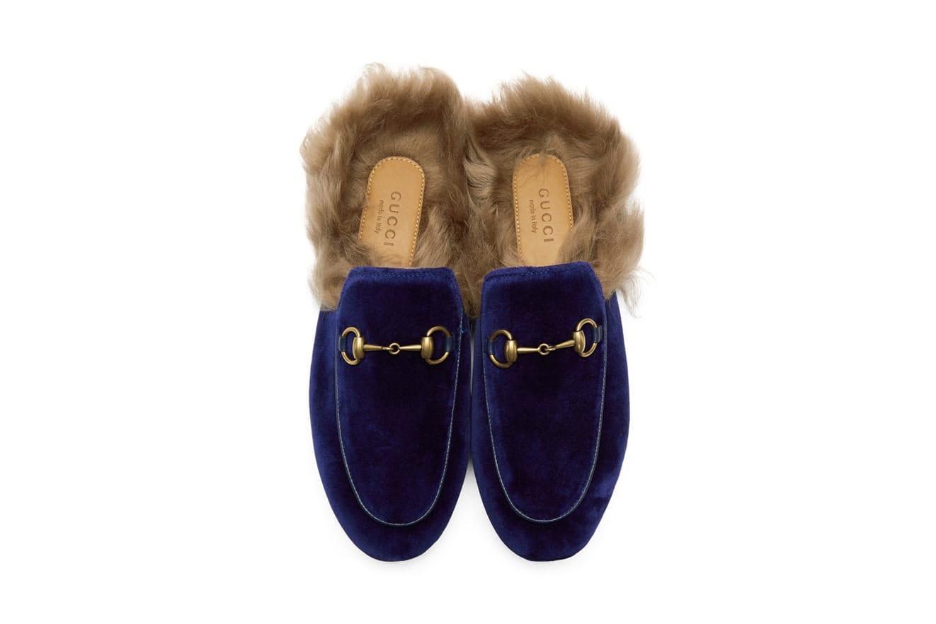 Gucci Velvet Princetown Slipper in