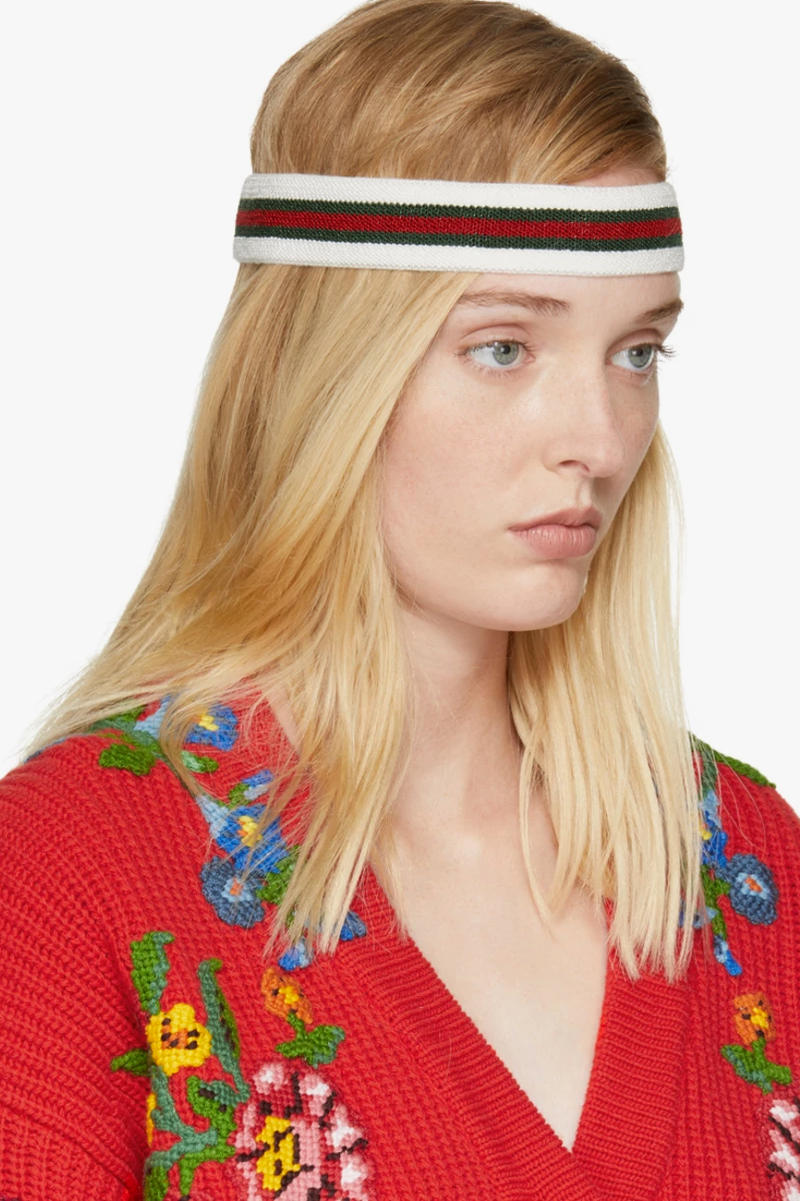 Gucci Tricolor Web Headband SSENSE Knit Logo Red White Green Accessory