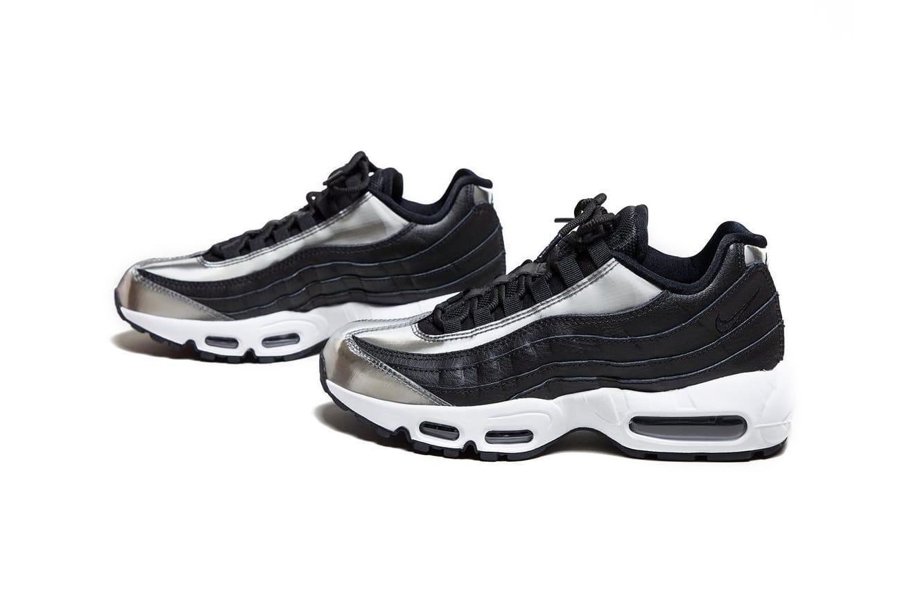 black and silver air max 95
