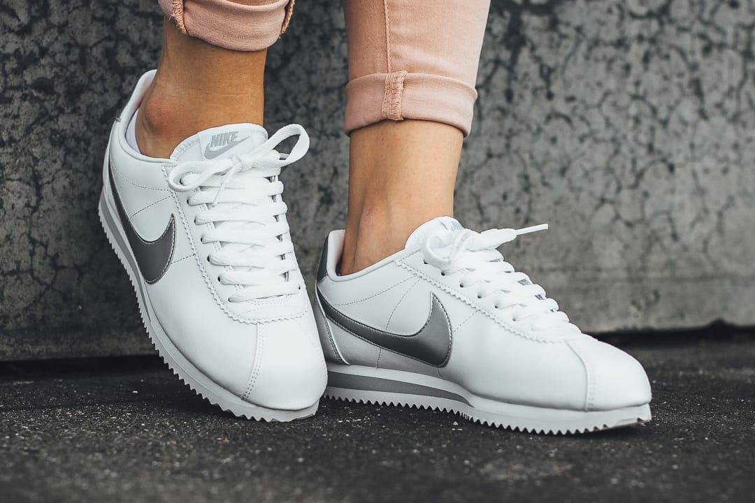 nike classic cortez leather white