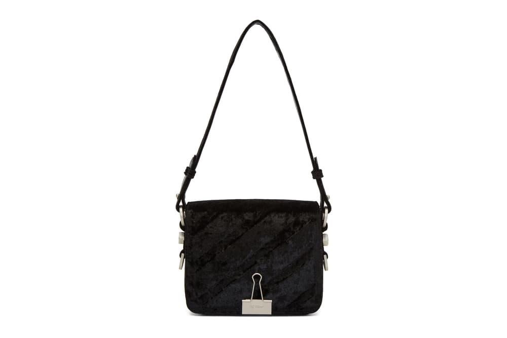 Off White Binder Clip Bag Black Blue Velvet