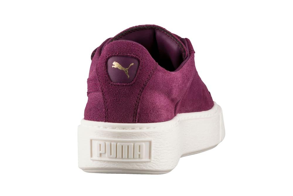 puma suede platform big strap pastel pink olive purple