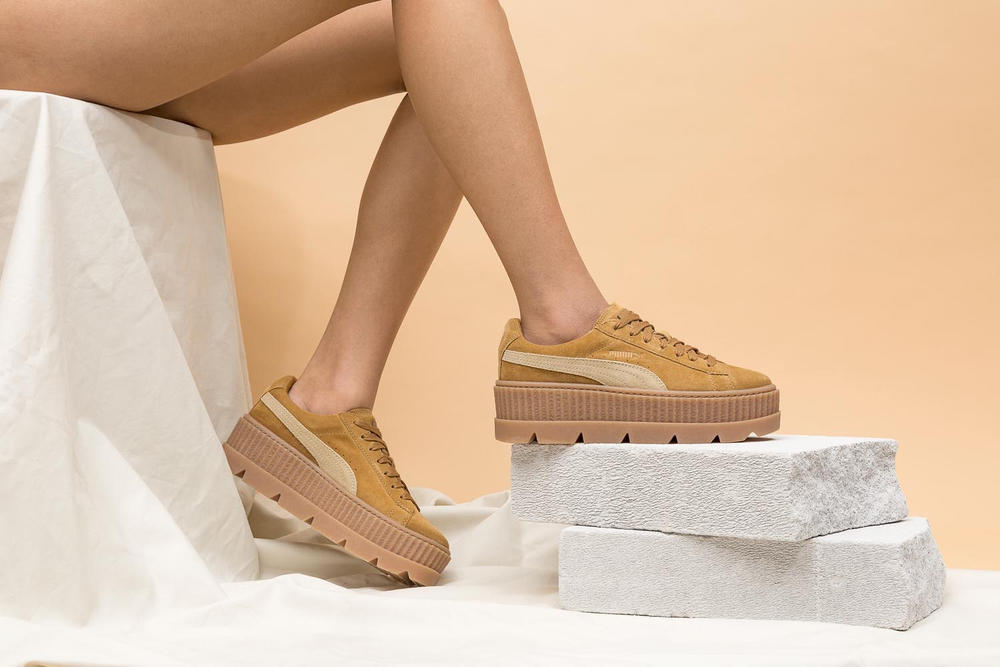 4dd00a2d5 Rihanna Fenty PUMA Cleated Creeper Suede Golden Brown Black