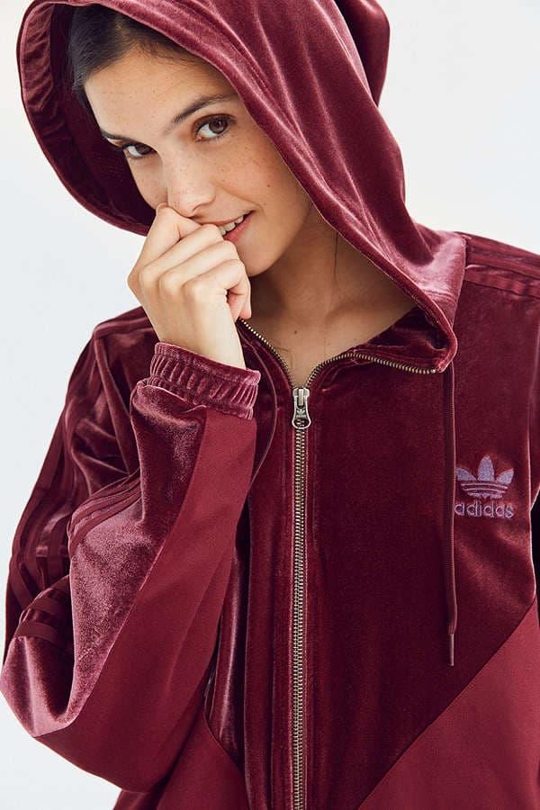 cheap for sale buy online price reduced adidas Originals' Velvet Hoodie Burgundy Black | HYPEBAE