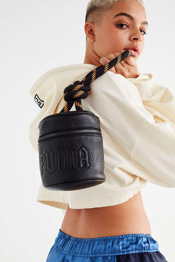 Fenty PUMA by Rihanna Leather Bucket Bag Powder Bag Urban Outfitters Leather Carry Cord Modern Chic