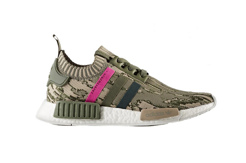 adidas NMD_R1 Primeknit Camouflage Makeover Green Night Shock Pink Silhouette Sneaker Shoe Footwear