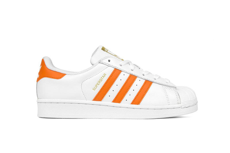 adidas Originals Superstars Colorways Tactile Orange Ice Pink Gold Accents  Classic Silhouette Three Stripes Sneakers Shoes 4b55935b1e1c