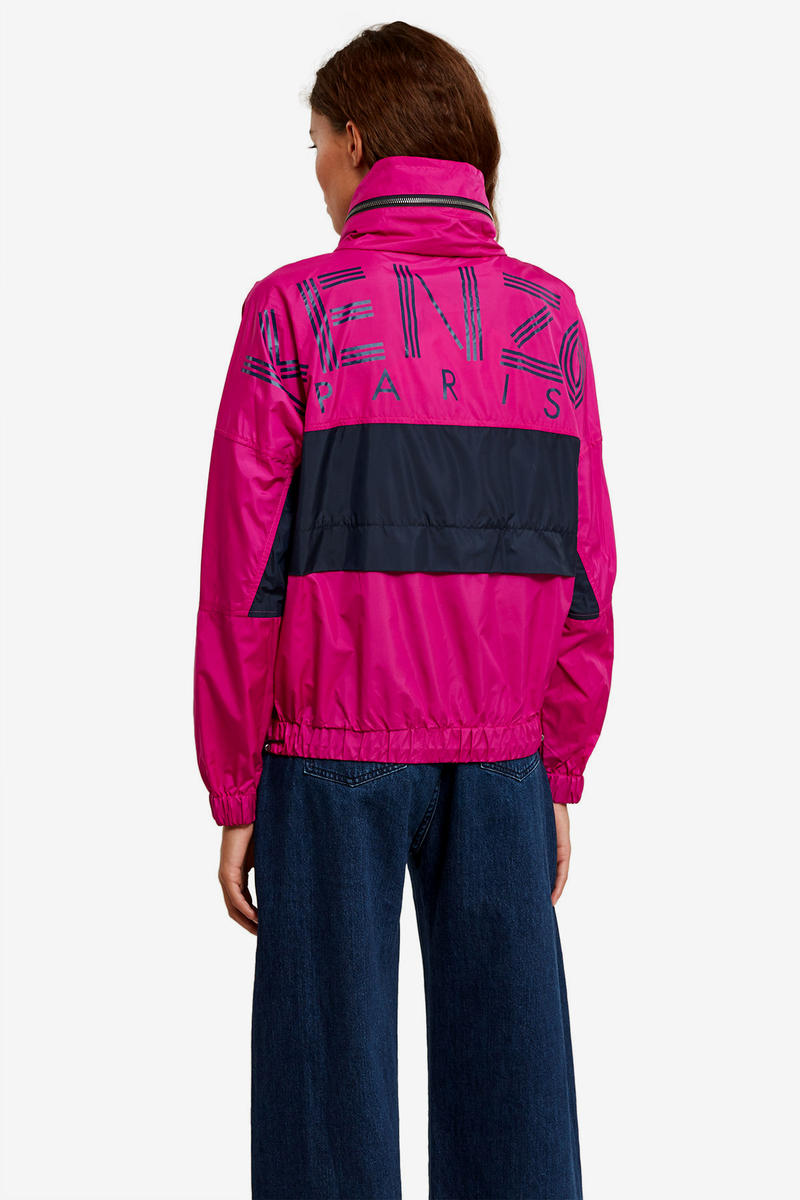 Kenzo Opening Ceremony Pink Pastel Fuschia Magenta Jacket Windbreaker Color Blocking Logo Fall