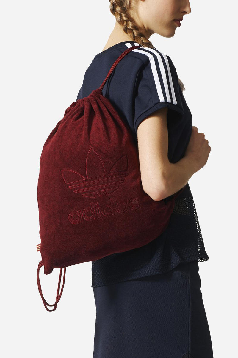 adidas Originals Gym Sack Collegiate Burgundy Backpack Bag Drawstring Logo Terry Knit