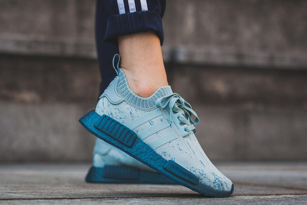 5c03a59ec adidas Originals NMD R1 Tactile Green Blue Primeknit Three Stripe Sneaker  Women Exclusive