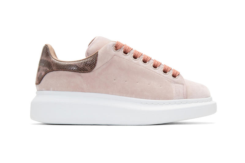 f81be586d0b49 Alexander McQueen Pink Velvet Platform Sneakers Shoes Footwear MCQ Classic  Silhouette White Sole