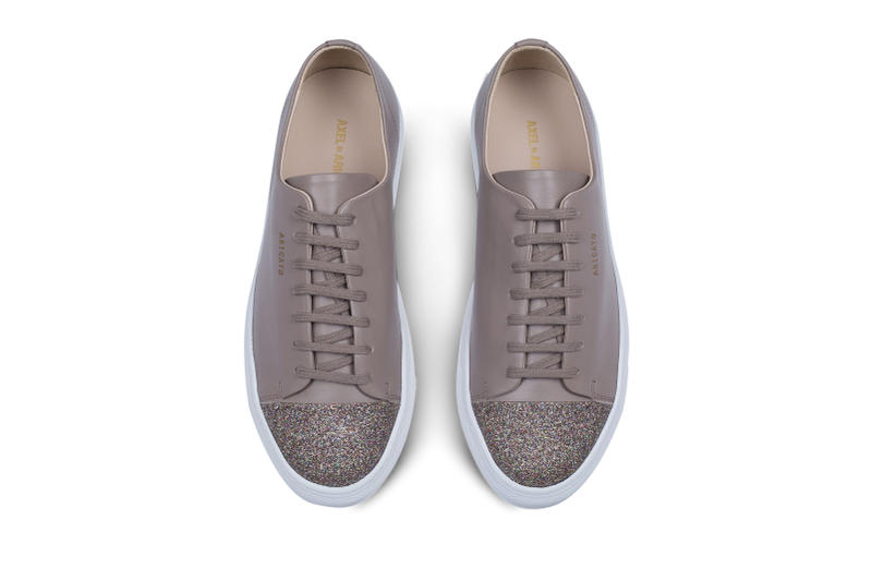 Axel Arigato Cap Toe Sneakers Glitter Sparkle Taupe Leather Minimalistic Minimal