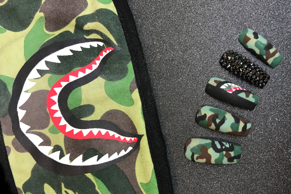 Our BAPE Camouflage Nail Tutorial by ClassyClaws | HYPEBAE