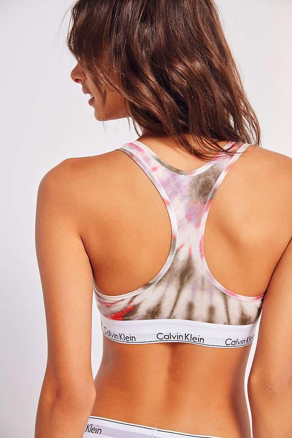 Calvin Klein Racerback Bralette Bra Underwear Urban Outfitters Sport Athletic Lingerie Grey Olive Tie Dye