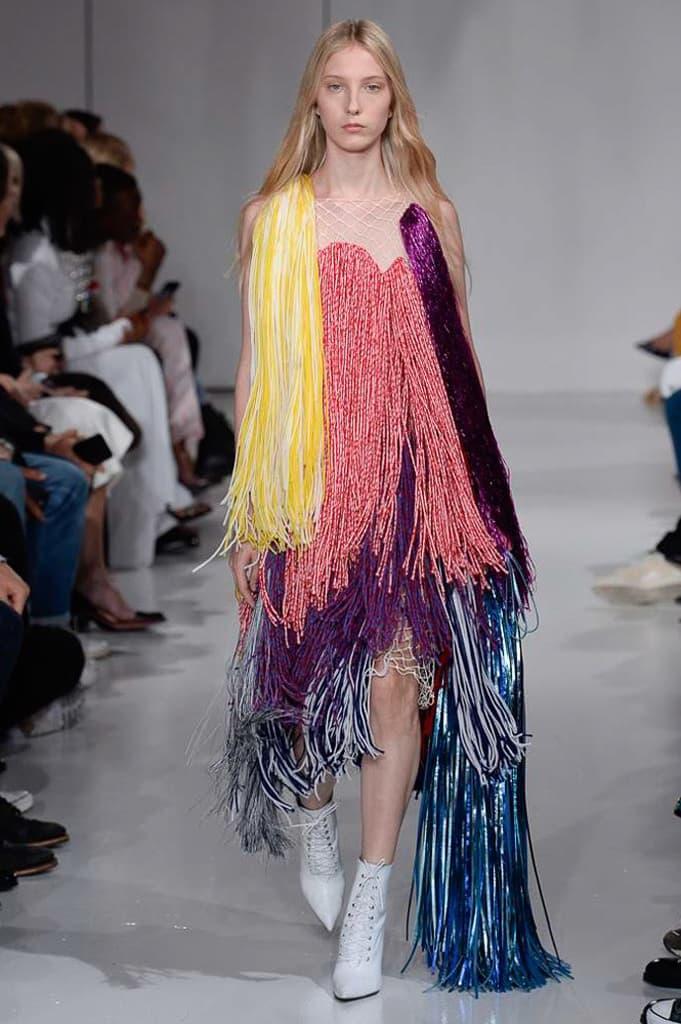 Raf Simons Calvin Klein 2018 Spring Summer Fashion Show NYFW New York Fashion Week Colorblocking Silk Leather