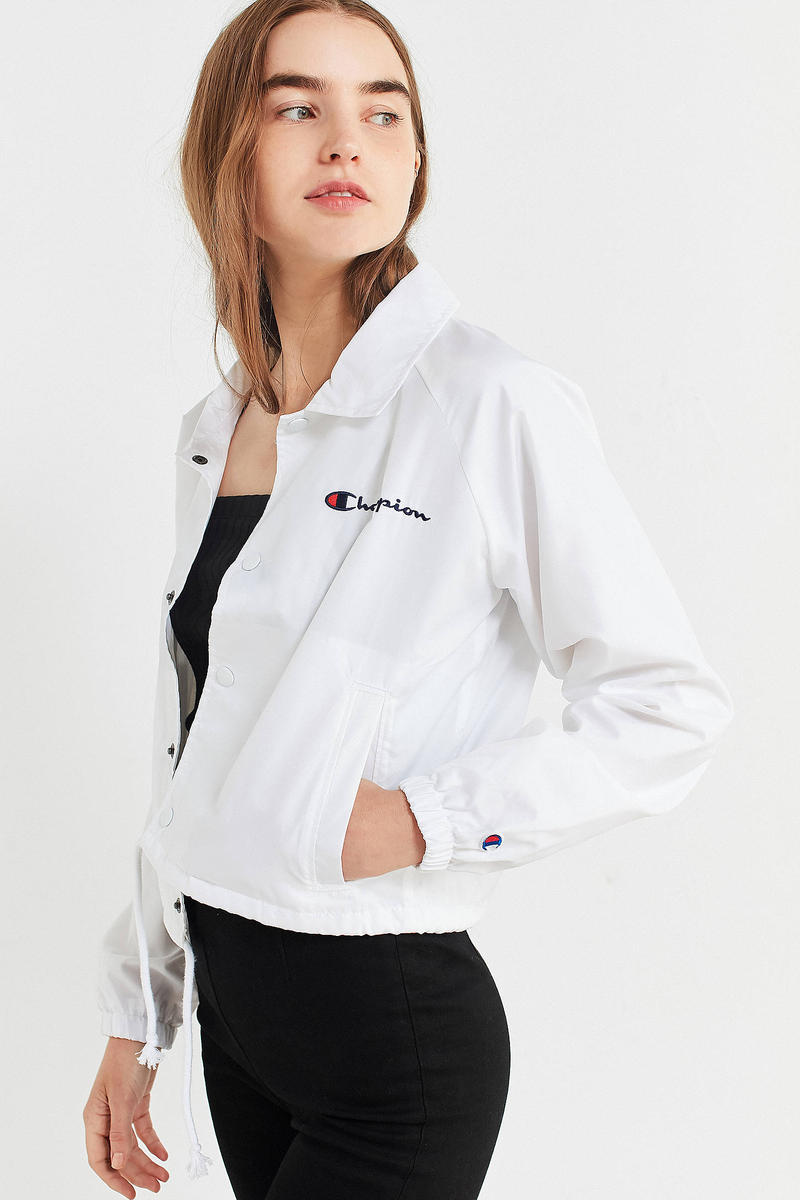 Champion Cropped Coach Jacket White Urban Outfitters
