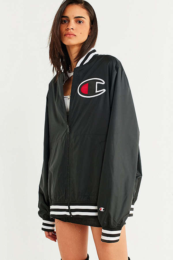 Champion Satin Baseball Jacket UO Urban Outfitters Black Logo Fall Outerwear