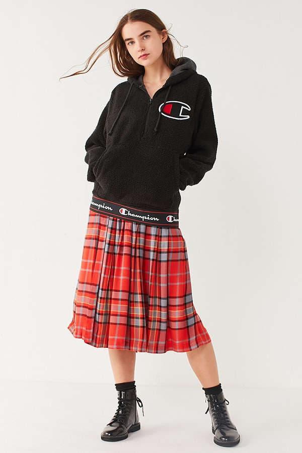 Champion Urban Outfitters Sherpa Zip Hoodie Sweatshirt Teddy Fluffy Jacket Coat Black Sporty Athletic