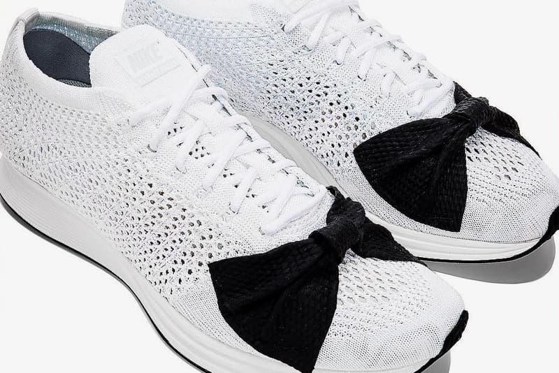 COMME des GARÇONS Nike Flyknit Racer Bow Tie CdG Dover Street Market Black White Japan Rei Kawakubo Sneaker