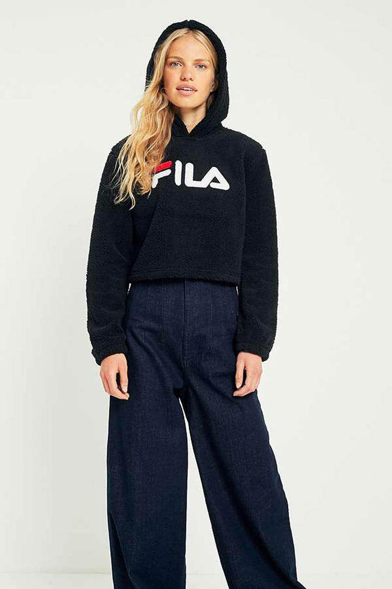 FILA Cropped Teddy Hoodie Cream Black