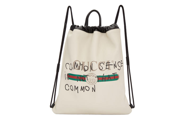 304e5413a5ce Gucci Logo White Leather Drawstring Bag Print Alessandro Michele SSENSE  Backpack White Black Iconic Print Fashion