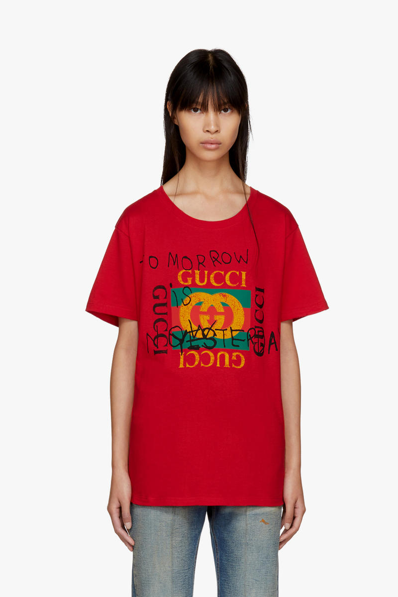 Gucci T-Shirt Iconic Logo Red Black Vintage Sequin Coco Capitan Collaboration Silver Hardware LOVED Print Alessandro Michele SSENSE Design Fashion Classic