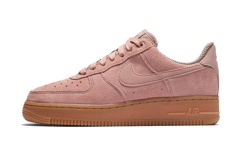 low priced 0ba0c 1d916 Nike Pink Pastel Air Force 1 Low Sneakers Particle Pink Suede Gum Sole Fall  Color