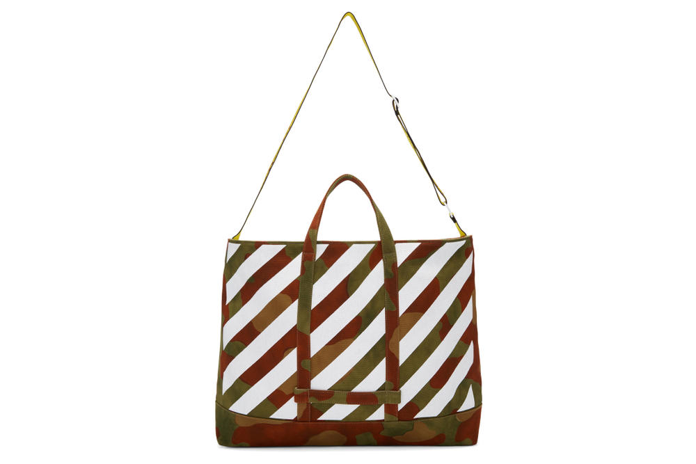 Off-White Green Diagonal Camouflage Tote