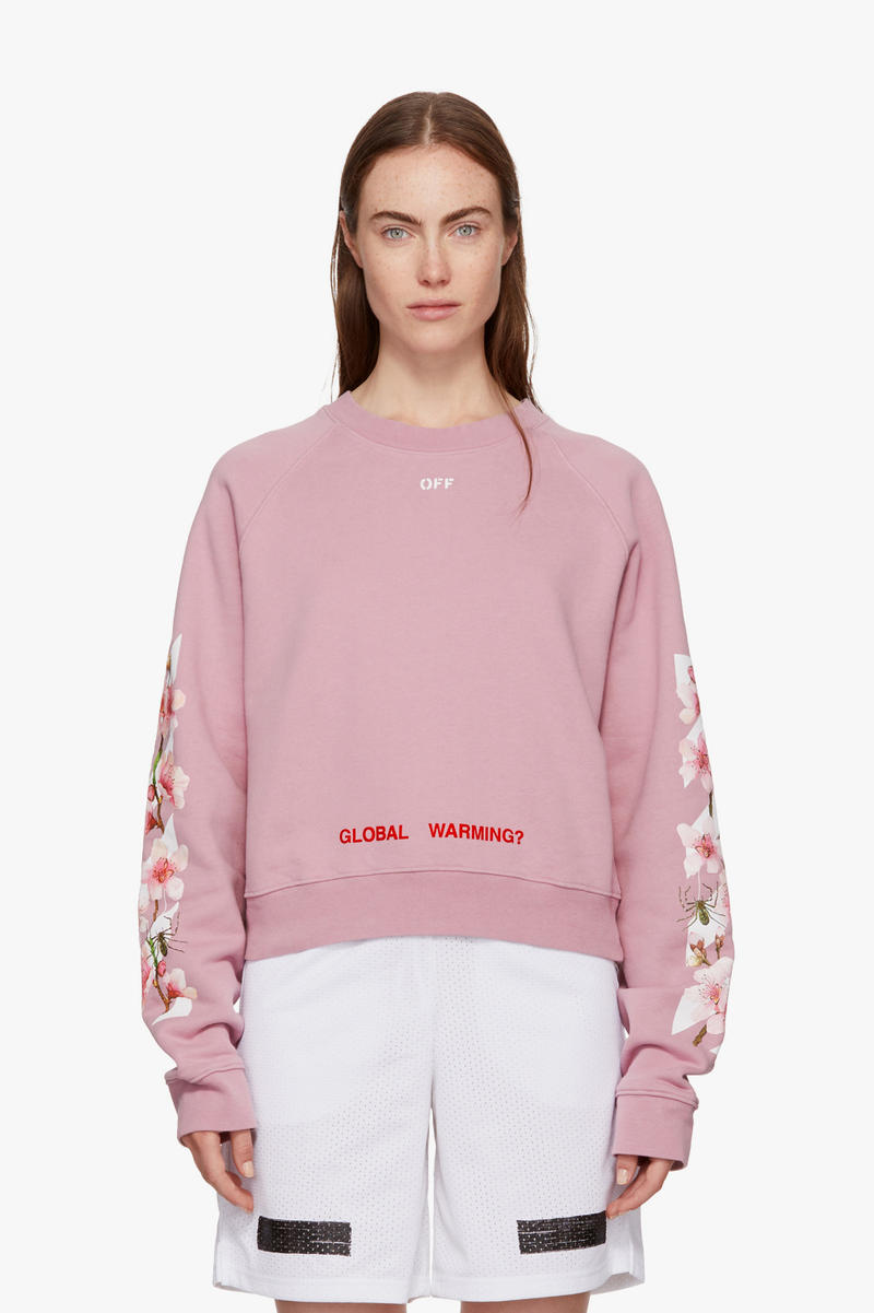 3a2240696a6 Off-White Virgil Abloh Cherry Blossom Hoodie Global Warming Millennial Pink  Flowers Sweatshirt Sweater Fall