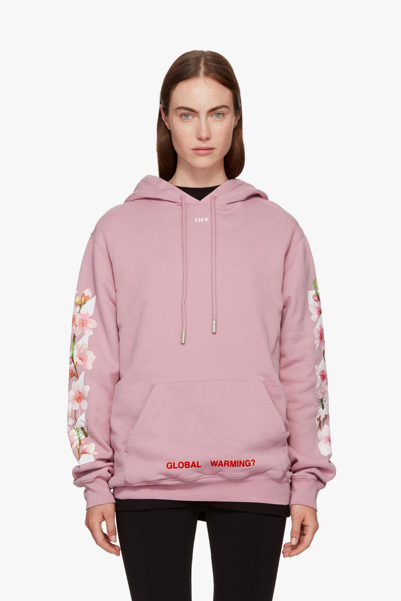 Off-White Virgil Abloh Cherry Blossom Hoodie Global Warming Millennial Pink Flowers Sweatshirt Sweater Fall