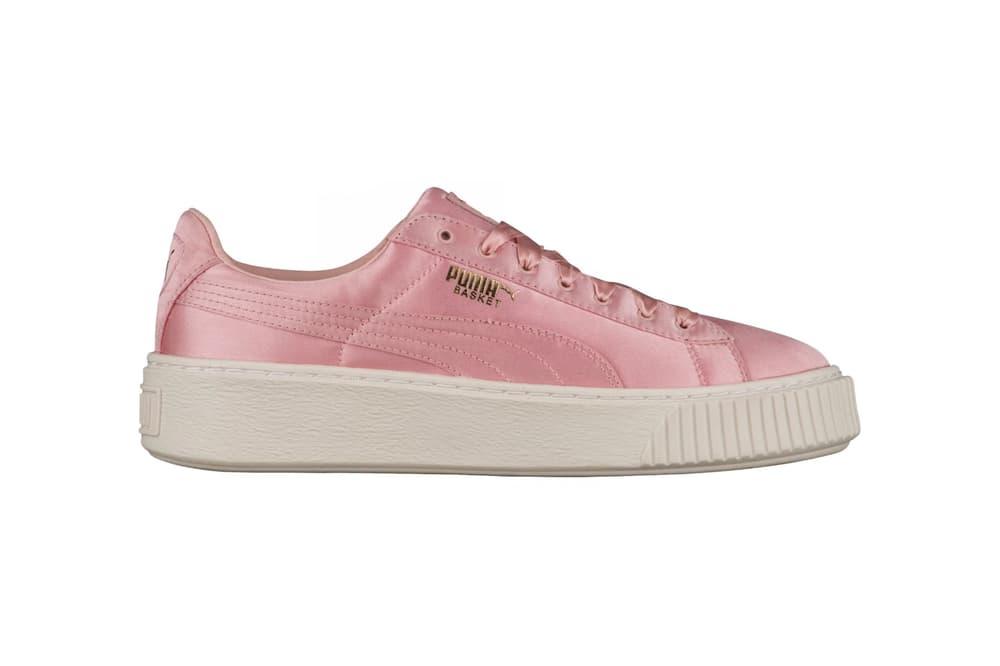 PUMA Basket Platform Satin Silver Pink
